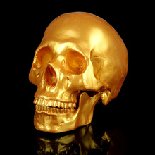 Golden Skull Head 1:1 Life Size Hand Made Decoration Collection Home Decor High Quality Crystal Cranium Skull Model Halloween