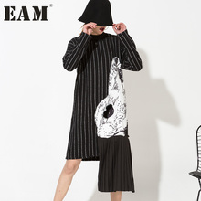 [EAM] 2017 new spring high collar long sleeve black striped split joint printed dress women fashion tide HA06981 - EAM Official Store store