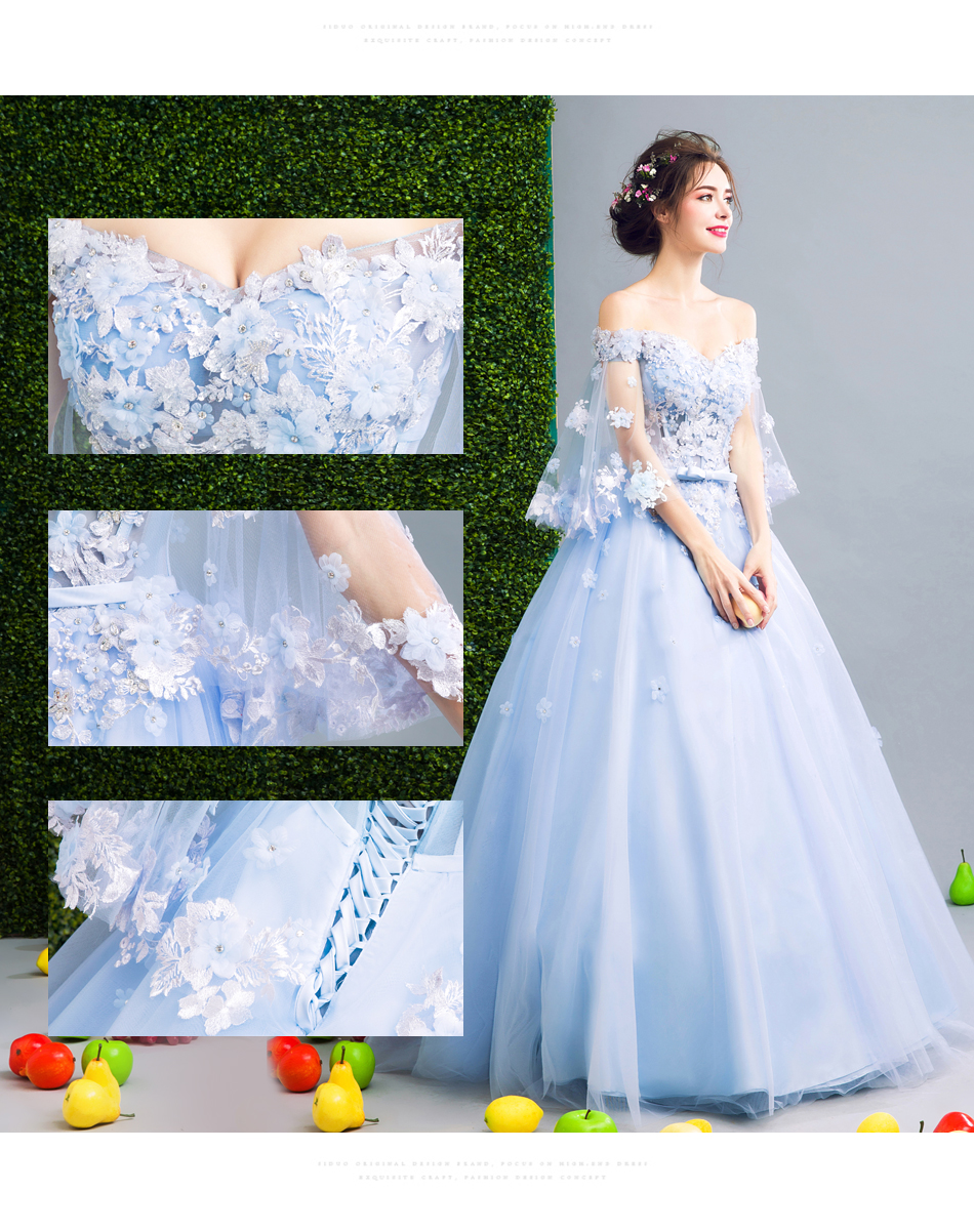 Angel Wedding Dress Marriage Bride Bridal Gown Vestido De Noiva Fairy, blue, handmade petals 2017 257 6