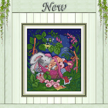 Sleep my joy cartoon rabbit animal painting counted printed on canvas needlework embroidery Sets DMC 11CT 14CT Cross Stitch kits(China)