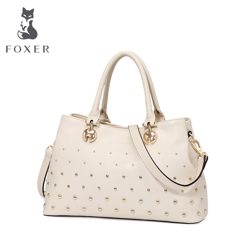 FOXER new superior cowhide women genuine leather bag famous brands women leather handbags fashion rivet bag tote<br><br>Aliexpress