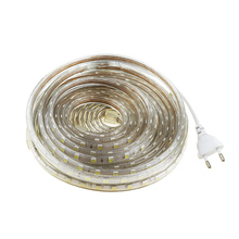 5050 led strip Waterproof AC220V SMD chip 1-25M flexible 60 leds/M with EU plug For indoor outdoor garden livingroom lighting CF
