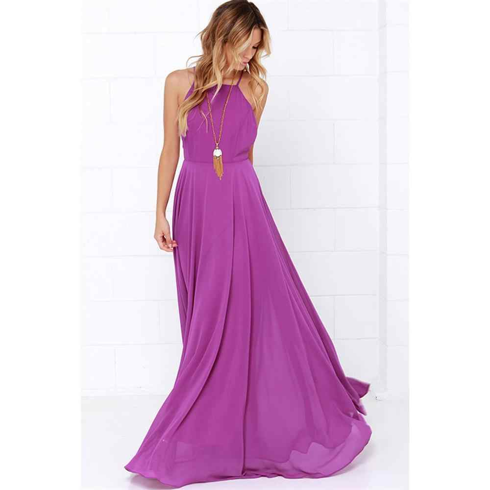 e82adbe58c0 Fashion Women Winter Sleeveless Strap O neck Boho Dress Casual Long Maxi  Evening Party Beach Backless