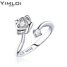 FREE SHIPPING 1PCS High Quality Silver Plated Princess Crown Zircon Adjustable Ring Retail Wholesale R071