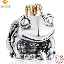 WYBEADS 925 Sterling Silver Frog Prince Crown Charms European Bead Fit Snake Chain Bracelet Bangle DIY Accessories Jewelry