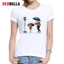 REDBELLA New Arrival Women T-shirt Funny Raining Girl Graphic Tees Tardis Umbrella Character O-neck Printed Cotton Femme Clothes(China)