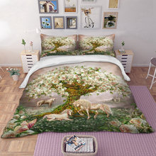 3D Digital Printing Floral Tree Unicorn Bedding Set High Quality Polyester Twin Full Queen King Double Size Plant Duvet Cover(China)