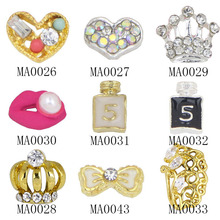 10pcs/lot Glitter 3D Nail Art Women Perfume Nail Charm Rhinestone Decorated Crown Nail Stud Female Finger Accessries Joyeria