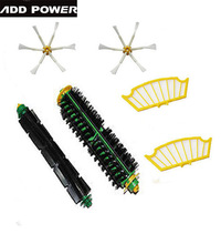 Bristle Brush + Flexible Beater Brush + 2 xSide Brush +2x Filter for iRobot Roomba 500 Series Vacuum Cleaner 520 530 540 550 560