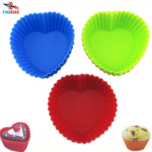 6PCS/Lot Soft heart shape Silicone Cake Mold High Quality 75mm 9g Muffin Chocolate Mold Cupcake Liner Baking Cup Mold(China)