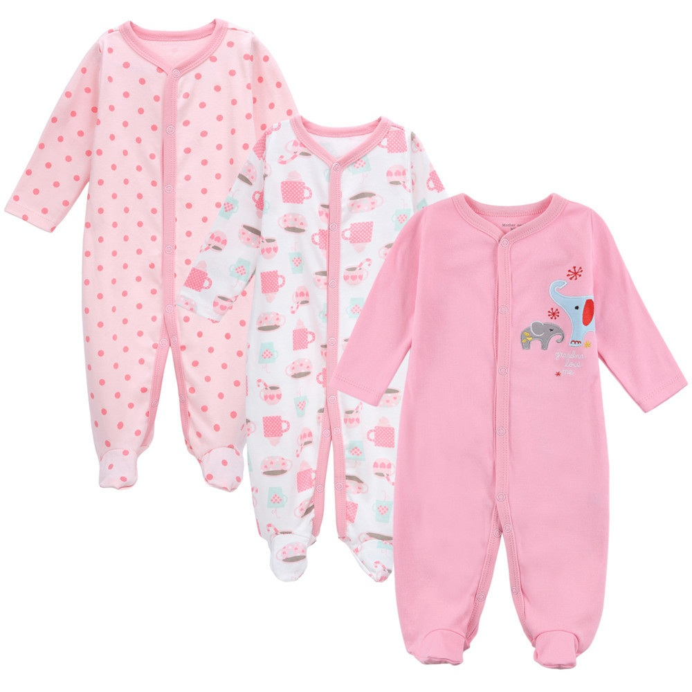 Mother Nest 3set/lot Autumn Baby toddle girl cartoon romper newborn cotton girls Clothing Set one-piece bodies suit baby rompers<br>