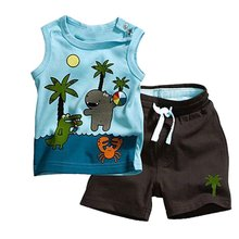 Boy Coconut Tree Pattern Sleeveless Tops+Pants 2PCS Set Outfits Clothes 0-3Y 0-3Year