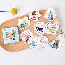 45 pcs/box Cute cup animals stickers DIY album adhesive paper Scrapbook Notebook decoration sticker stationery kids gifts