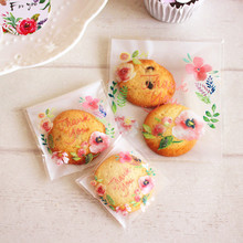 100pcs10x10+3cm Spring Flowers Thank You Bakery Cookie Candy Sweet Biscuit Gift Soap Cello OPP Plastic Bag Wedding  Decorations