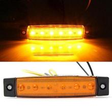 1PC 12V 6 LED Truck Boat BUS RV Trailer Side Marker Indicators Light Lamp Amber Blue and white red and green Car styling
