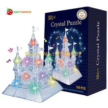 3D DIY Crystal Music Puzzle Jigsaw Kid Early Learning Castle Construction pattern gift For Children Brinquedo Educativo Houses