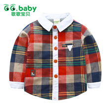 School Winter Plaid Shirts Baby Boys Formal Girl Long Sleeve Shirts Toddler Warm Blouses Baby Shirt For Kids Clothes Boys Blouse(China)