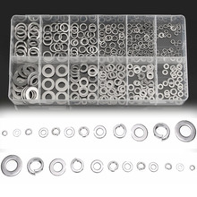 350pcs/lot Stainless Steel Flat Washers 12 Sizes Assortment Spring Lock Washers Kit + Box For Hardware Accessories