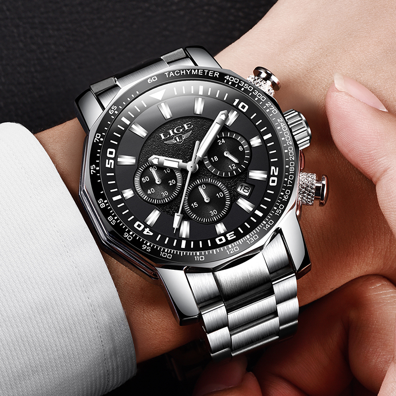 Relojes Hombre 2020 LIGE Fashion Mens Watches Top Brand Luxury 24 Hour Date Business Quartz Watch Men Waterproof Big Dial Clock