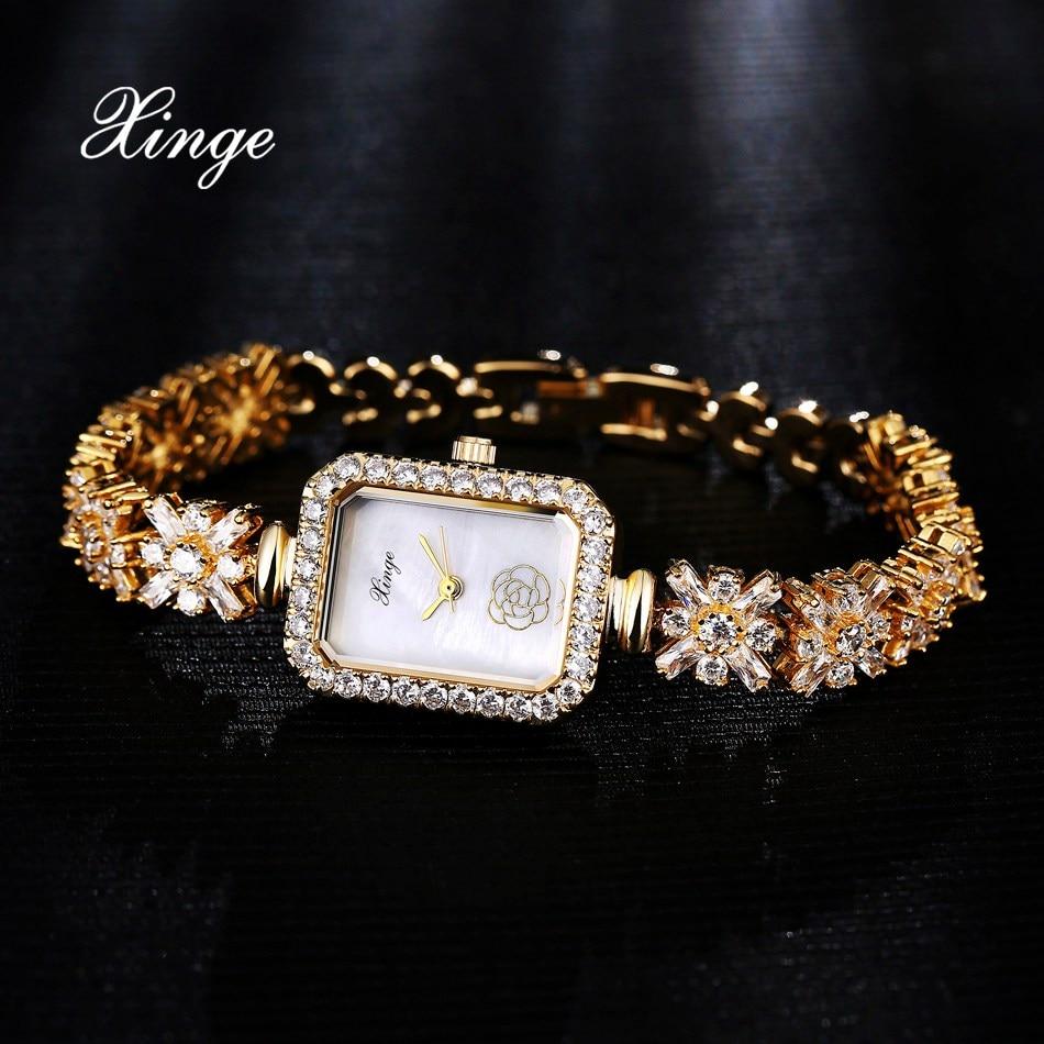 Xinge Brand Luxury Crystal Zircon Gold Watches Women Fashion Bracelet Quartz Watch Waterproof Women Business Sport Wristwatch<br>