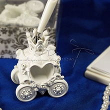 Free Shipping Cinderella Theme Fairytale Coach Wedding Pen Set In White Resin/Wedding Accessories/Party Supplies