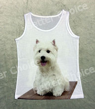 Track Ship+Vintage Retro Cool Vest Tanks Tank Tops Pure Cute White Westie Terrier Dog Sticking tongue out 1430