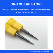 2pc R0.25*D4*20.5*50*2F HRC55 Tungsten solid carbide Taper Ball Nose End Mill cone milling cutter cnc router bit wood knife tool(China)