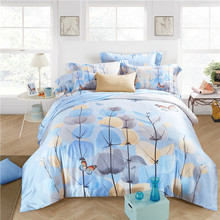 new Luxury noble 100% natural tencel silk rain leaf butterfly Poetic 4pcs duvet cover bedsheet pillowcase bedding set kit/B3577