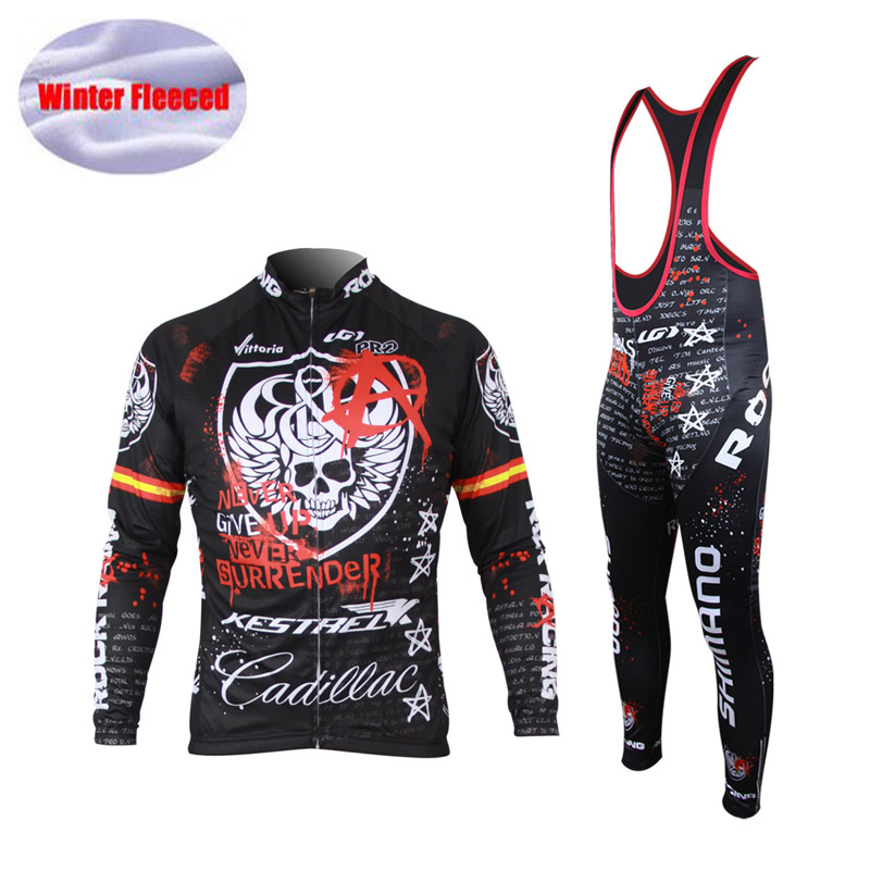 2016 Winter Cycling Jersey Skeleton Thermal Fleece Long Sleeve Bike Clothes Ropa Ciclismo Bicycle Men Cycle Clothes Wear <br>