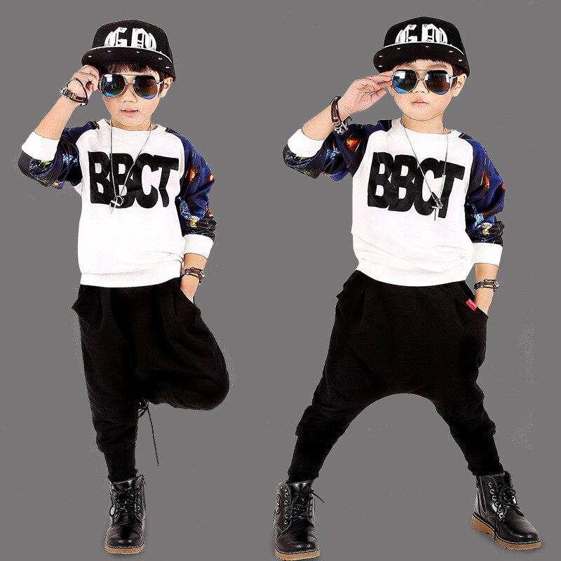 Haren Pants Boy Sports Letter Set Boys Outwear 2016 2pcs/set Boys Autumn Clothes Childrens Clothing Set kids hip hop clothing <br>
