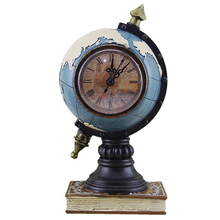 Retro Globe Vintage Home Craft Resin Cube Globe Figurine With Clock Table Decoration Craft Technology Birthday Gifts Accessories