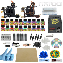 ITATOO Tattoo Machine Kit 2 Guns Professional Tattoo Kit Complete with Power Supply Clipr Cord Tattoo Supplies TK1000013(China)