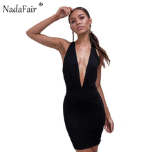 Buy Nadafair deep v neck sleeveless backless halter summer women dress sexy mini criss cross club bodycon party dress black