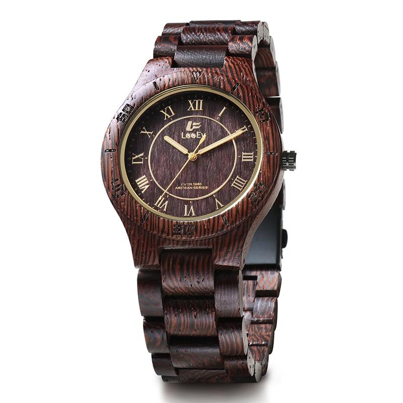 LeeEv EV1985 Mens Natural Wenge Wood Watch Analog Quartz Light Weight Vintage Wooden Wrist Watch<br>