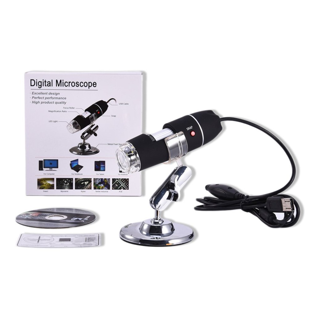 USB Digital Microscope 1X-500X 2MP Continuous Zooming,Endoscope Magnifier Video Camera with Lifting Holder,8 LED