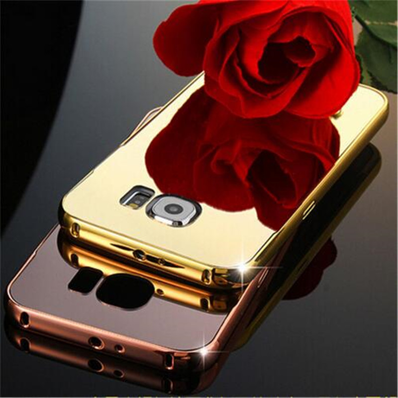 Luxury Gold Plating Aluminum Metal Frame Mirror Acrylic Back font b Case b font For font