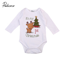 Рождественский детский Комбинезончик для новорожденных Для маленьких мальчиков и девочек с рисунком оленя Новогодние товары Дерево печат...(China)