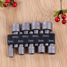 9pcs 5mm-13mm 1/4 Inch Hex Shank CRV Screwdriver Socket Sleeve Nozzles Magnetic Nut Driver Set Drill Bit Adapter Hex Power Tool