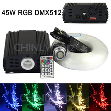 45W RGB DMX LED Fiber Optic  star ceiling kit light 800pcs 4m 0.75mm +28key  RF remote