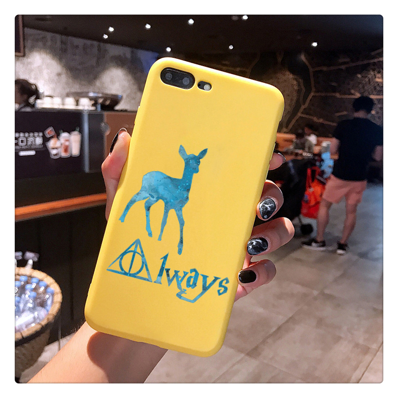 always Deathly Hallows Candy Color TPU Case phone For iphoneX 7 XS XR XSMAX HOGWARTS EXPRESS Pink Red Yellow White Cover