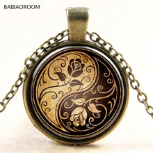Rose yin and Yang taiji time glass pendant necklace sweater chain necklace(China)