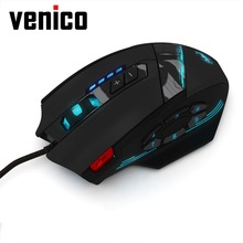 Wired USB Gaming mouse 4000DPI 12 Buttons Programmable Computer game mice with led light Driver for pc gamer