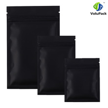 High quality 12 X 18CM,100 X Metallic Mylar ziplock bags flat bottom Black Aluminum foil small zip lock plastic bags