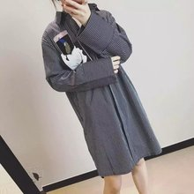 South Korea single spring and autumn patch work new oversize large size BF wind loose striped full sleeve shirt blouse