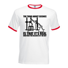 men Science Real Believe or Not camisetas 2017 summer fitness short sleeve t shirt plus size fashion hip-hop contrast collar top