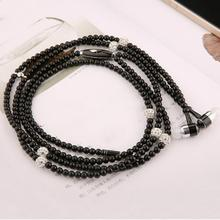 Luxury rhinestone Necklace Chain Earphone hand free Hi-Fi Wired Stereo headset For Smart Phone/iphone
