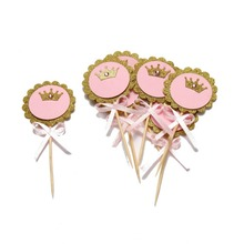 Glitter Gold Pink Crown Cupcake Toppers with Bow Rhinestone Girls Princess Birthday  Party Decorations