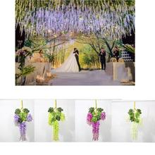 5pcs Artificial Vine Flowers wisteria simulation rattan flower for string plant Home wall decoration bracketplant wedding  3