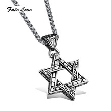 Punk Delicate 316L Stainless Steel Pentagram Star Pendant Necklace Hollow Charm Handmade Jewlery Men Accessories FL1003(China)