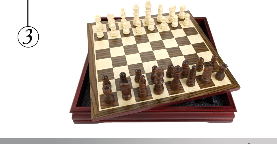 Easytoday Wooden Chess Game Set Wood Chess Pieces Short Tea Style Puzzle Chessboard Table Games High-quality (3)